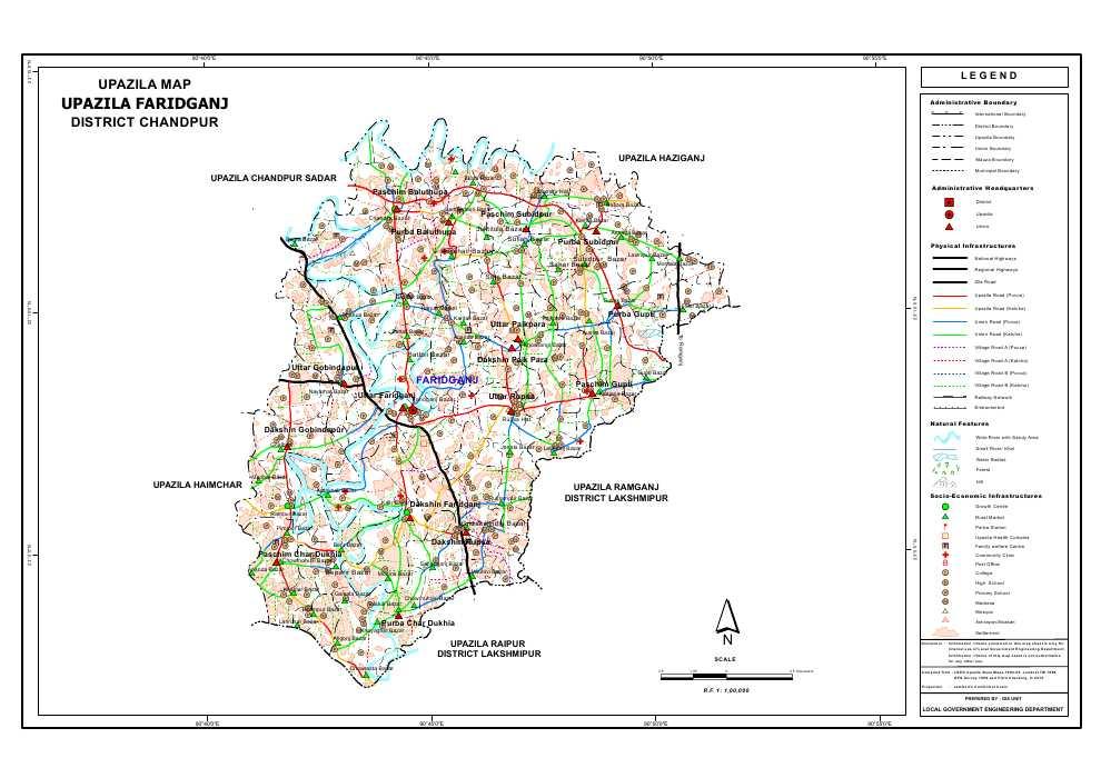 Faridganj Upazila Map Chandpur District Bangladesh
