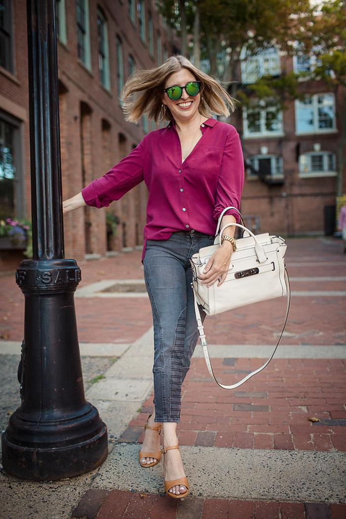 J.Jill silk forward seam blouse