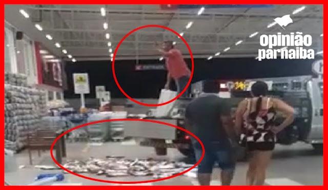Vídeo | Homem despeja quase 100 Kg de peixe na entrada de supermercado no Piauí