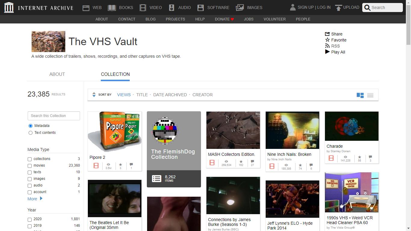 Sfoglia da browser Web fra questi 20 mila video degli anni '90 in VHS