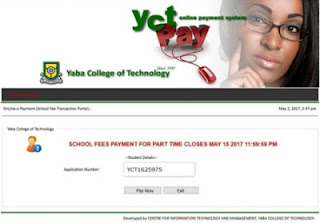 Yabatech part-time student school fees