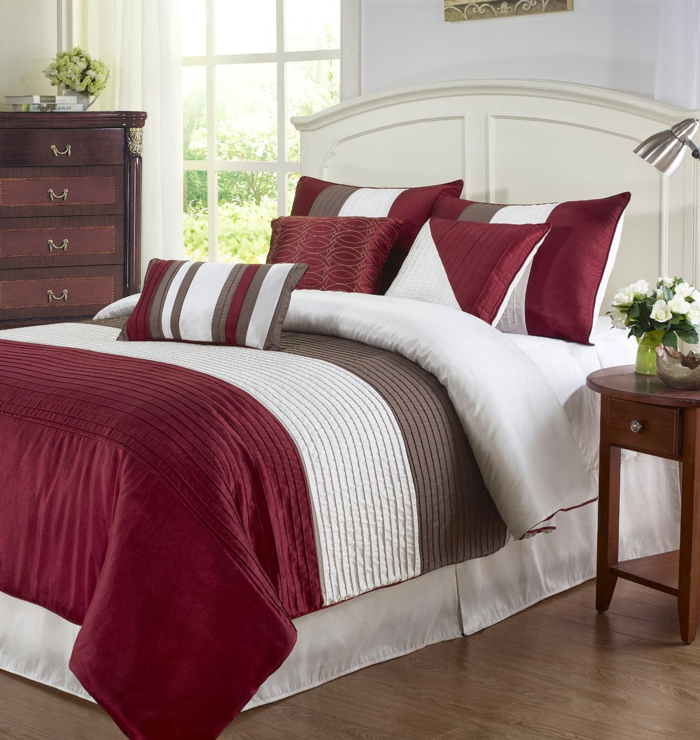Brown and red bedding - Cozy Beddings Tayler 7 Piece Comforter Set