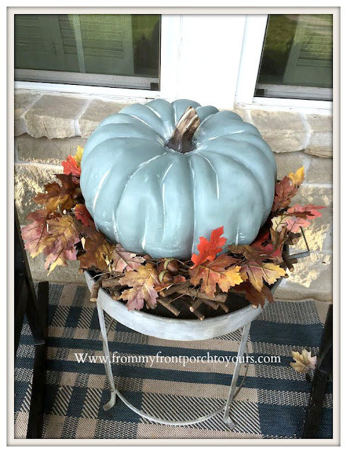Chalk-Like- Painted- Pumpkins-Blue-Gray-Porch-Decor-Fall-Decor-From My Front Porch To Yours