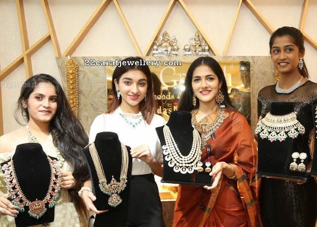 Models Showcasing Temple and Kundan Sets