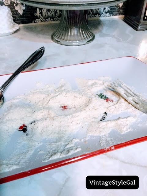 Flour on red truck platter