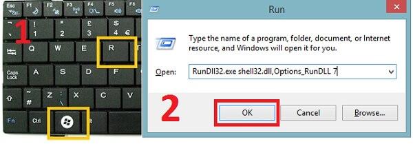 Nhấn tổ hợp Windows + R sau đó gõ lệnh RunDll32.exe shell32.dll,Options_RunDLL 7 và chọn OK.