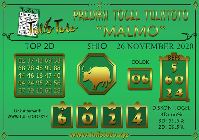 Prediksi Togel MALMO TULISTOTO 26 NOVEMBER 2020