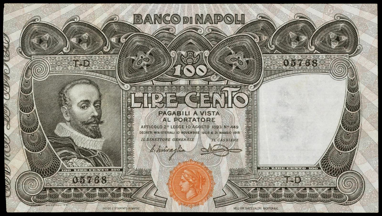 Italy 100 Lire banknote Banco di Napoli