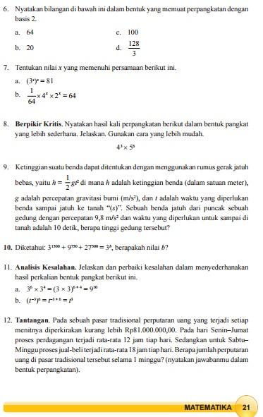 Kunci jawaban ini dibuat untuk membantu mengerjakan soal matematika bagi kelas 9. Bocoran Kunci Jawaban Buku Paket Kelas 9 Halaman 20 21 22 Latihan 1 2 Perkalian Pada Perpangkatan