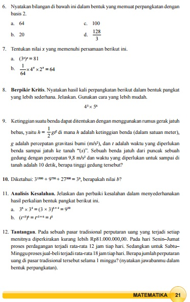 Sederhanakan Perpangkatan Berikut Ini Latihan 1.2 Kelas 9 : sederhanakan, perpangkatan, berikut, latihan, kelas, Kunci, Jawaban, Latihan, Perkalian, Perpangkatan, Halaman, Kelas, Paket, Terbaru, Lengkap, BukuPaket
