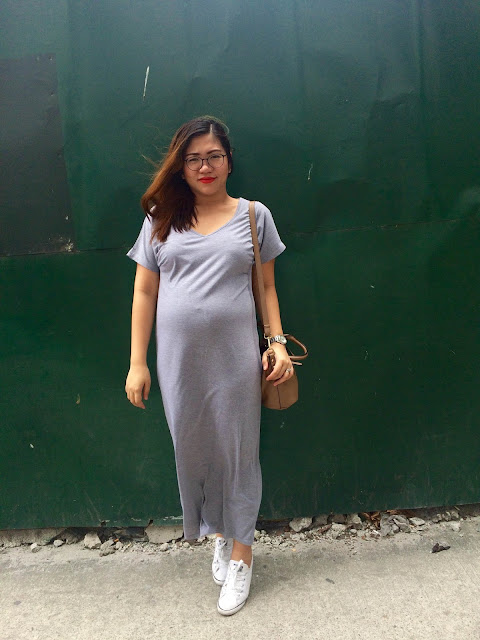 maxi dress+white sneakers+zalora+converse+red lips+revlon