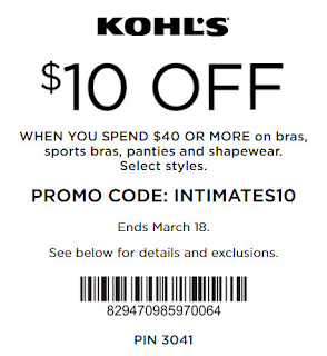 Kohls Intimate Coupon $10 off $40
