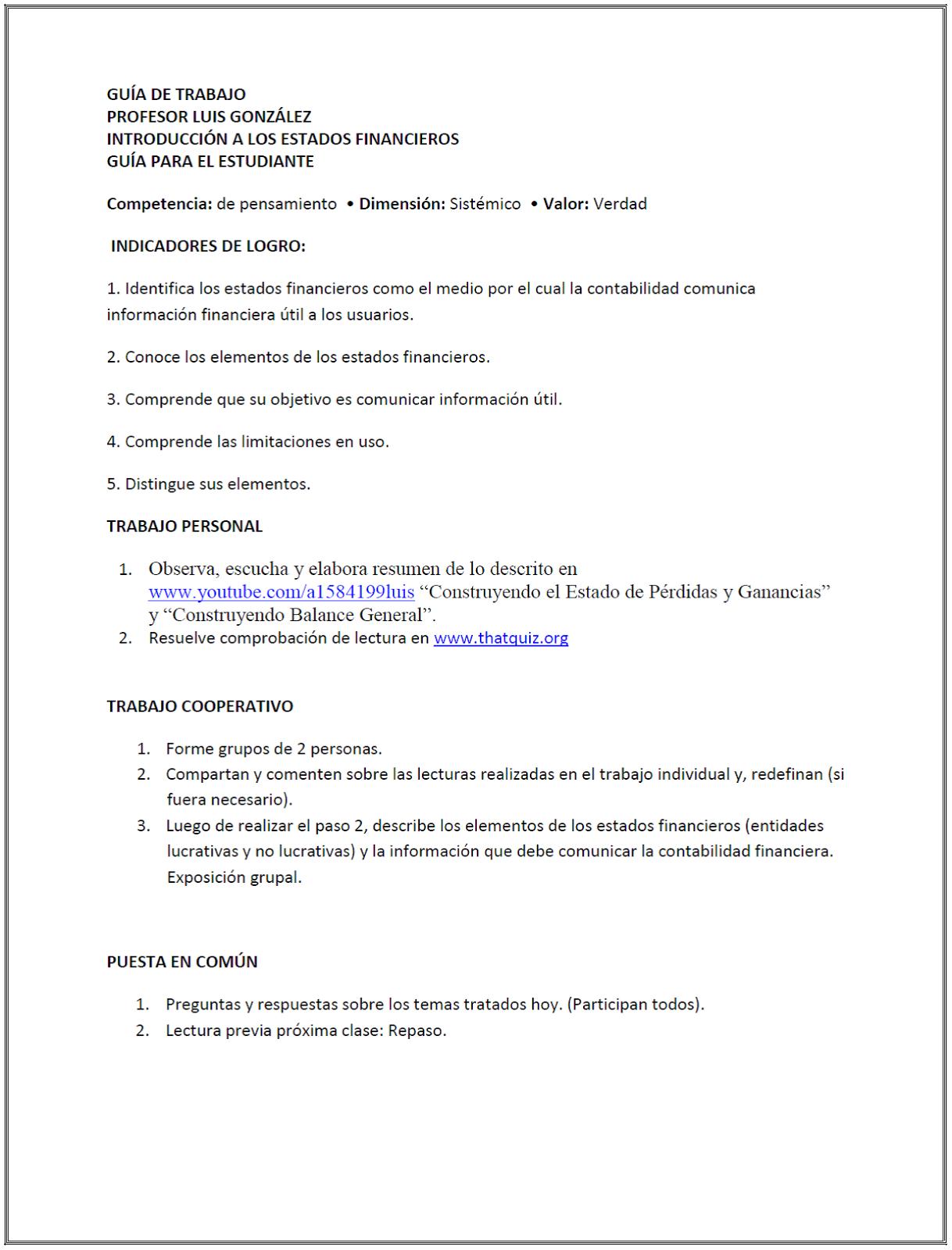 Luis González: Guía de trabajo 6, Contabilidad.