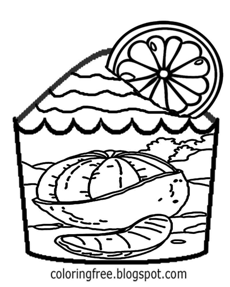 Colouring in juice - Awesome Fairy Cake Frosting Orange Juice Fruit Cupcake Coloring Pages For Teens Cooking Printables