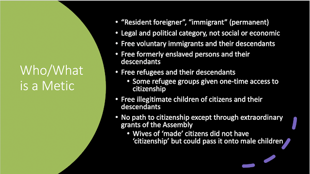 List of groups included in metic status including free immigrants, freed former enslaved persons, illegitimate children of citizens, refugees, and the descendants of all these groups