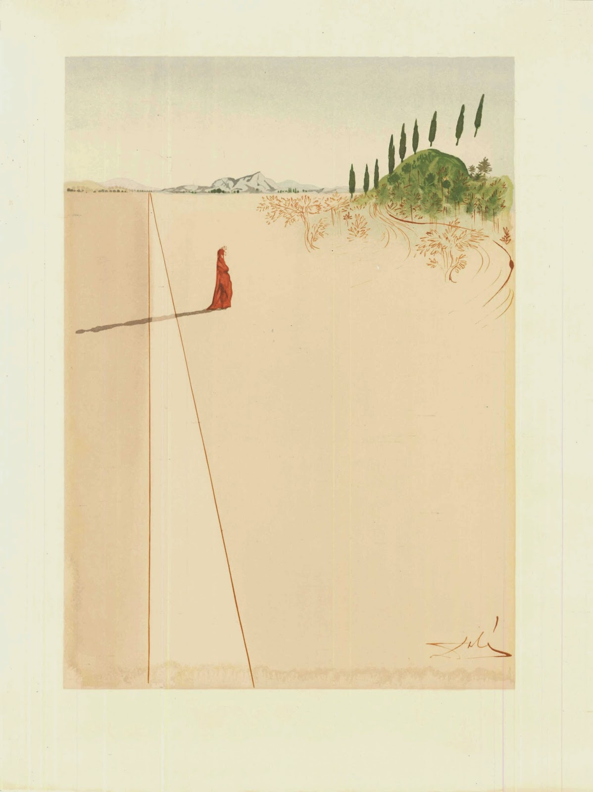 A watercolor illustration of a small figure in red standing in a vast, barren landscape.