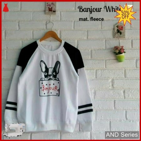 AND192 Sweater Wanita Bonjour Putih Murah BMGShop