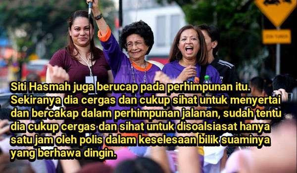 Siti Hasmah cuma disoalsiasat kerana melanggar Akta Himpunan Aman - Tak kena ISA atau belasah oleh FRU