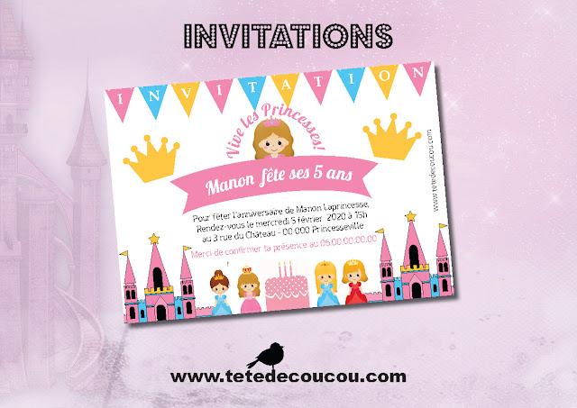 Invitations personnalisées Kit anniversaire princesse fille rose à imprimer tête de coucou