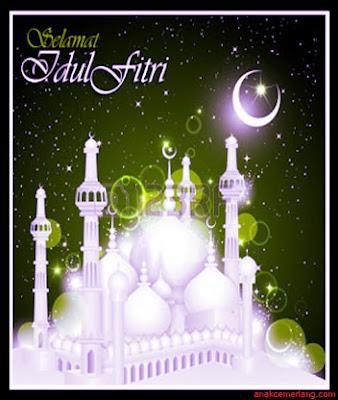kartu ucapan selamat idul fitri gambar masjid