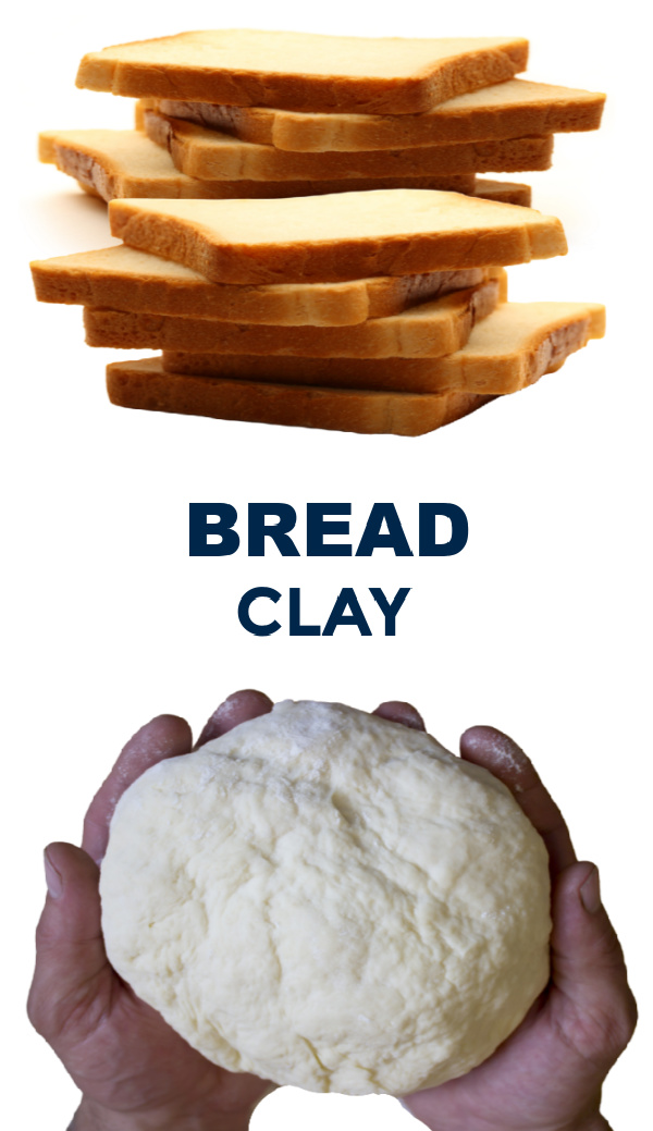 Make play clay for kids using bread!  Easy recipe. #breadclay #breadclayrecipe #breaddough #playdoughrecipe #clayrecipeforkids #growingajeweledrose