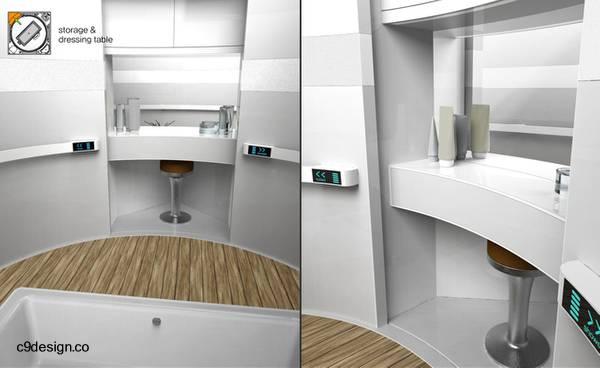 Baño modular completo de forma cubo