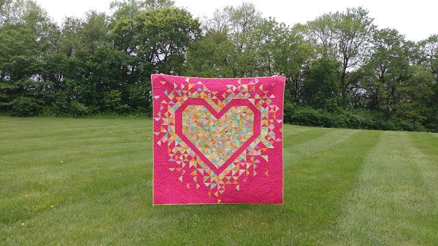 Exploding Heart quilt in Parakeet Kaffe Fassett fabric