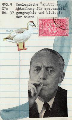 smoking man photo goose bird postage stamp library card Dada Fluxus mail art collage