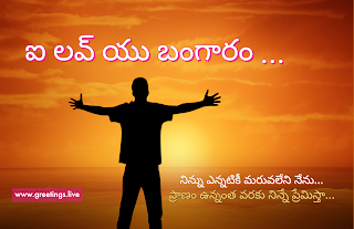 ఐ లవ్ యు బంగారం i love you bangaram.Telugu love message image.