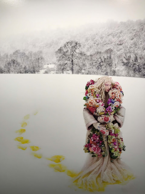 A blonde woman dressed in a romantic flowery dress and overcoat, her bright yellow footsteps show in the deep white snow.