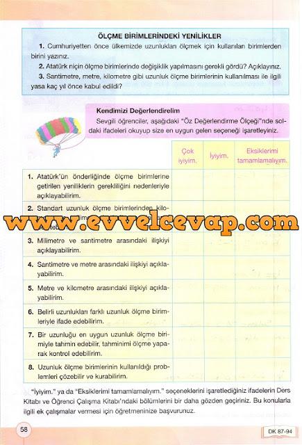 4. Sınıf Yakın Çağ Yayınları Matematik Çalışma Kitabı 58. Sayfa Cevapları