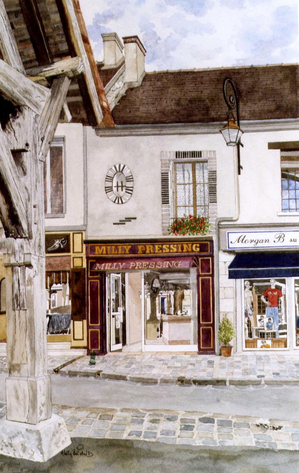 histoire des commerces de milly la foret commerces et ville de milly la for t aquarelles d. Black Bedroom Furniture Sets. Home Design Ideas