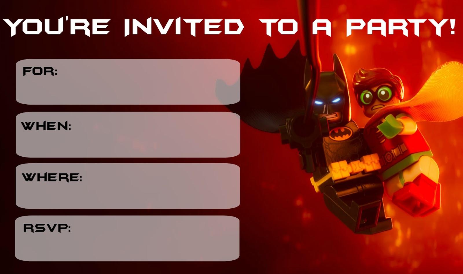 Musings of an Average Mom: Lego Batman Movie Party Invitations