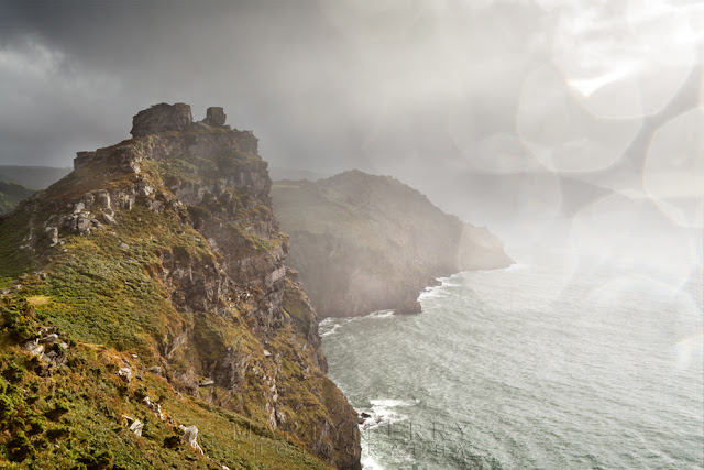 Castle Rock at Valley of Rocks in Exmoor under falling rain by Martyn Ferry Photography