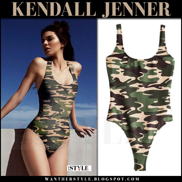Kendall Jenner in green camouflage army print swimsuit Kendall + Kylie swim 2017 beach summer model style