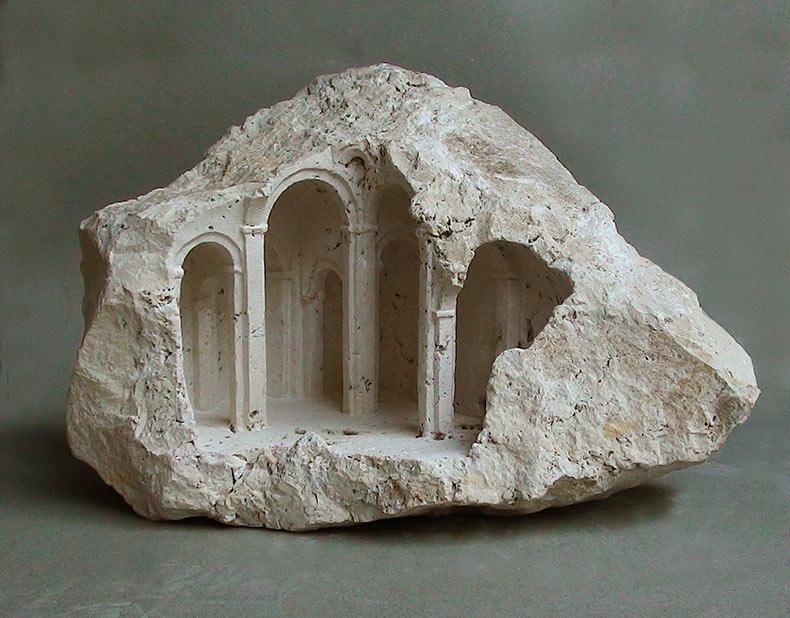 Nuevas estructuras de arquitectura en miniatura talladas en piedra por Matthew Simmonds