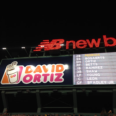 The David Ortiz Dunkin Dugout in the Bleachers, renamed for his final season as a player