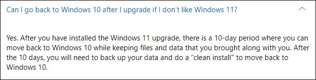 هل يمكنني العودة إلى Windows 10 بعد الترقية إذا كنت لا أحب Windows 11؟