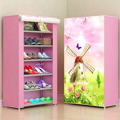 Zizer Multipurpose Portable Folding Shoes Rack 6 Tiers Multi-Purpose Shoe Storage Organizer Cabinet Tower with Iron and Nonwoven Fabric with Zippered Dustproof Cover