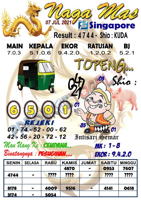 Syair Naga Mas SGP Rabu 07 Juli 2021
