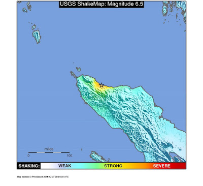 An earthquake with magnitude 6.5 occurred 19km