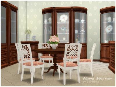 Alanya dining room Алания столовая для The Sims 4 Набор мебели Алания для столовой в классическом стиле. В комплект входят несколько полных шкафов, а также секции для подготовки модульной мебели. Вы можете создать много разных вариантов мебели. Угловые шкафы также можно разместить в углу комнаты, но в то же время используйте кнопку ALT для более точного размещения. Для установки круглого стола на 6 человек требуется комплект Backyard Stuff Pack В набор входят 10 предметов: - большой шкаф - большой комод - круглый стол на 6 человек - Обеденный стул - настенное зеркало - узкий шкаф (секция) - левый угловой шкаф (секция) - правый угловой шкаф (секция) - левая тумбочка (секция) - правая тумбочка (секция) Автор: Severinka