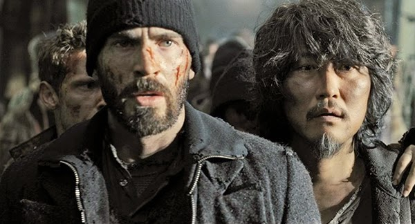 Chris Evans and Kang-ho Song in Snowpiercer