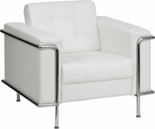 Tufted White Leather Lounge Chair