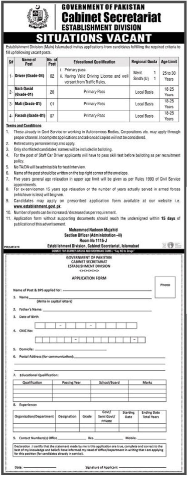 Cabinet Secretariat Islamabad Jobs 2020