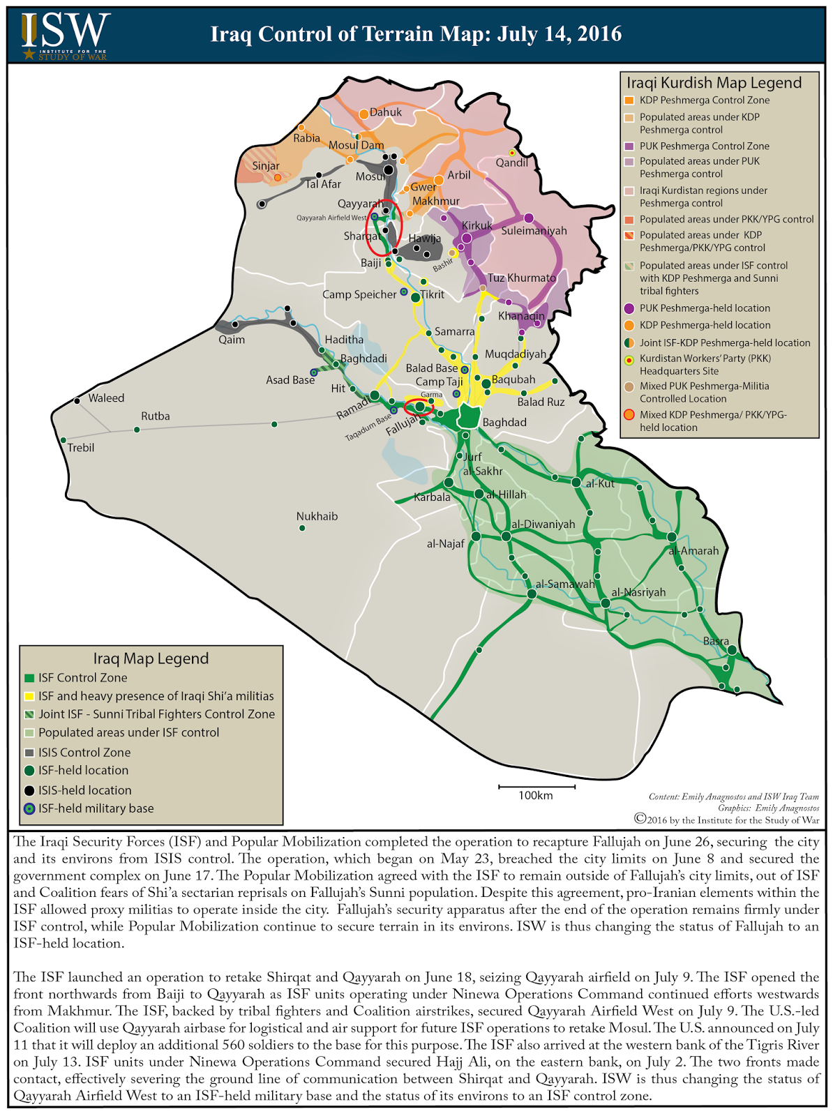 ISW Blog Iraq Control Of Terrain Map July - Map of iraq us military bases
