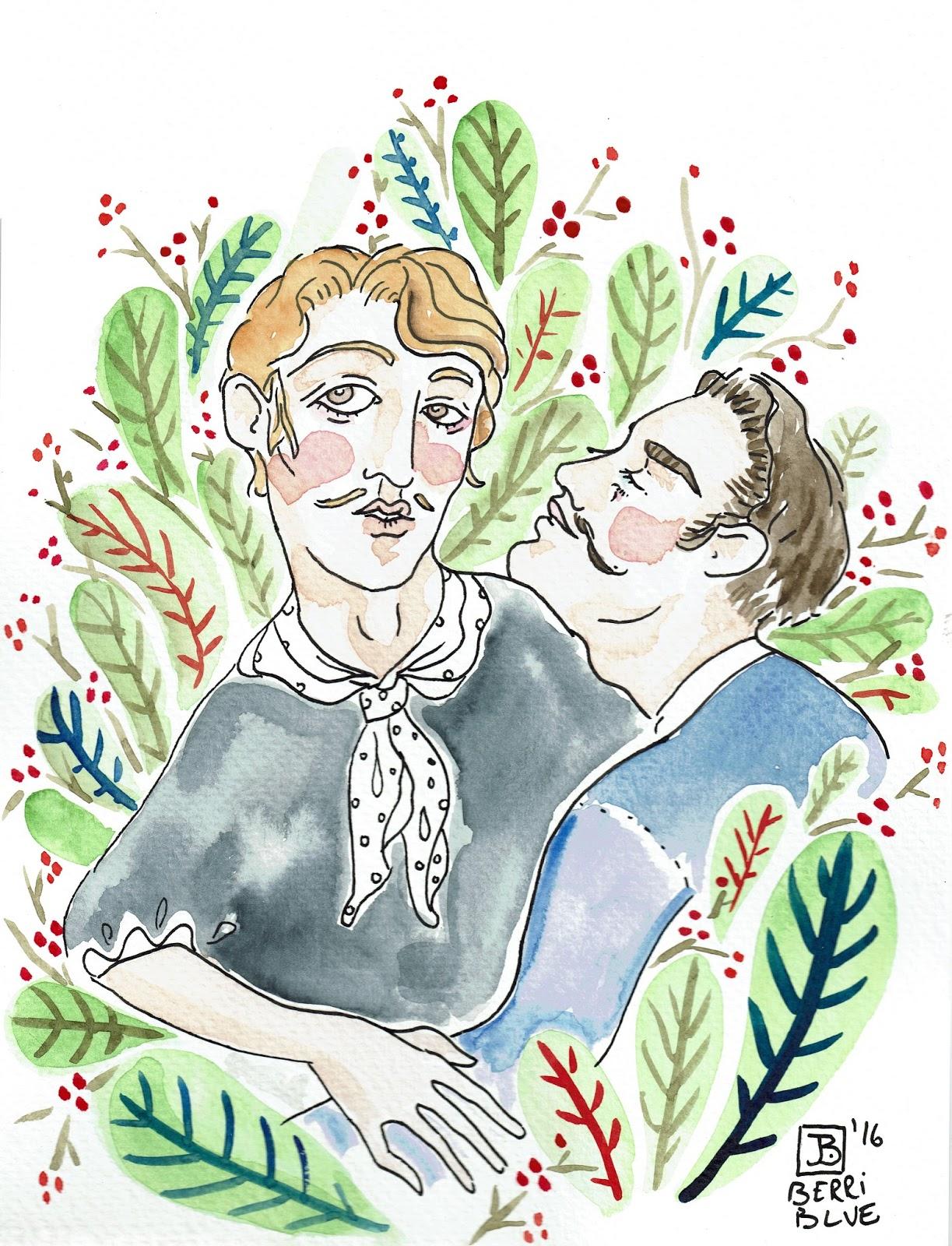 Watercolour Two Men Love Leaves Illustration
