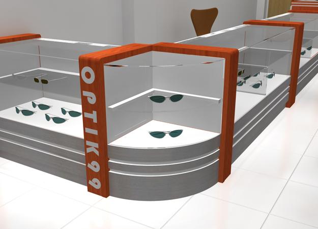 desain Etalase Kaca untuk Toko Optik (Kacamata) Bentuk L - Kaca Lengkung - Eyewear Display Showcase 02