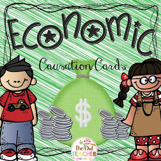 Economic Causation cards FREE task cards for practicing fluency and reviewing content