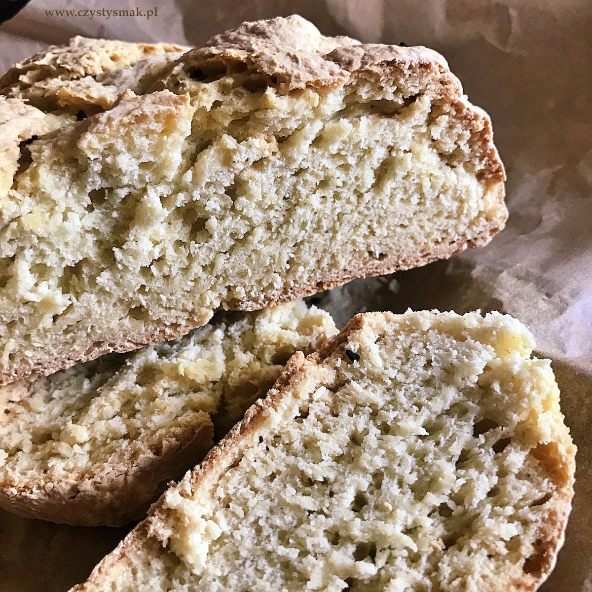 Szybki, pszenny chleb bez drożdży i zakwasu
